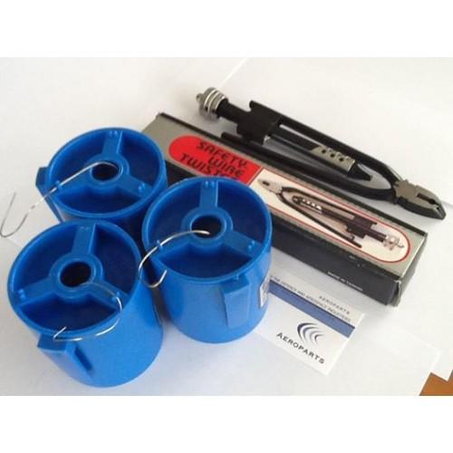 LOCKWIRE KIT - PLIERS & 3 ROLLS SAFETY WIRE .6mm,.8mm, 1.04mm